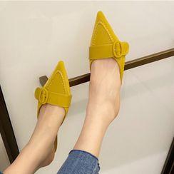Anran - Pointy-Toe Kitten-Heel Mules