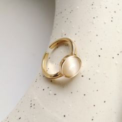 Hollyhock - Cat Eye Stone Alloy Open Ring