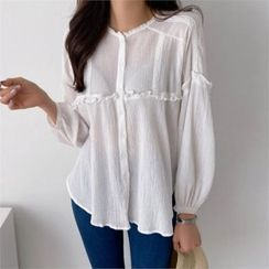 PIPPIN - Round-Neck Frill-Trim Blouse