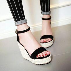 Comof - Ankle-Strap Wedge-Heel Espadrille Sandals