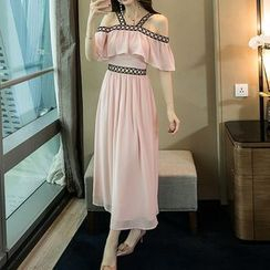 Tanzil - Off-Shoulder Short-Sleeve Midi Dress