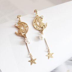 Green Isle - Faux Pearl Alloy Moon & Star Dangle Earring