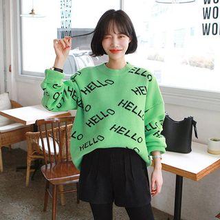 Seoul Fashion - Letter-Pattern Cashmere Blend Boxy Sweater