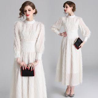 Yonna - Long-Sleeve Fluffy A-Line Midi Dress