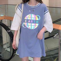 Mushini - Mock Two-Piece Short-Sleeve Reflection Printed T-Shirt