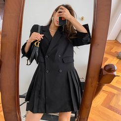 LIPHOP - Double-Breasted Pleated-Hem Mini Blazer Dress
