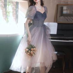 LEFFA - 泡泡袖漸變色網紗中身A字晚禮服