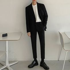 DragonRoad - Set: Plain Blazer + Crop Dress Pants