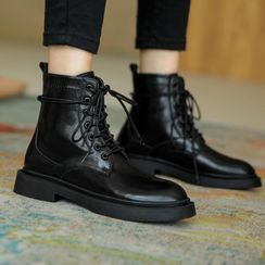 JY Shoes - Genuine Leather Lace-Up Short Boots