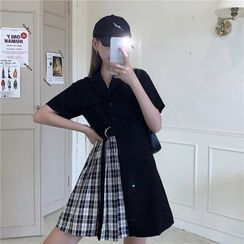 Whoosh - Plaid Panel Short-Sleeve Mini Collared Dress