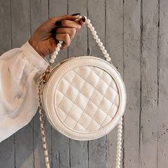 Miloes - Quilted Faux Leather Faux Pearl Handle Round Crossbody Bag