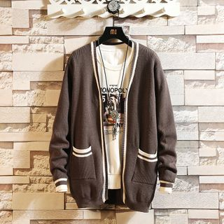 Pompadour - Striped Open Front Cardigan