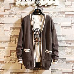 Pompadour - Striped Open Front Cardigan