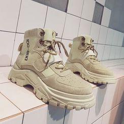 HANO - 帆布拼接厚底高帮休閒鞋