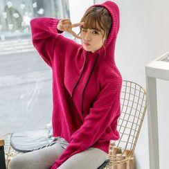 伊之戀 - 純色連帽毛衣