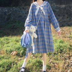 Sisyphi - Long-Sleeve Plaid Dress