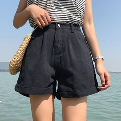 JIUHOJI - Wide-Leg Denim Shorts