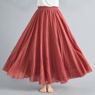 TROBIZ - A字麻布長裙