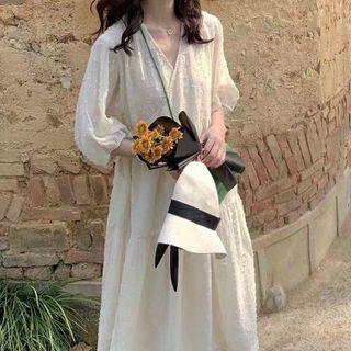 EFO - Bubble-Elbow-Sleeve Embroidered V-Neck Chiffon Sundress