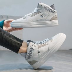 Yuki Yoru - Letter Embroidered High-Top Sneakers