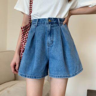Shinsei - High-Waist Denim Wide-Leg Shorts