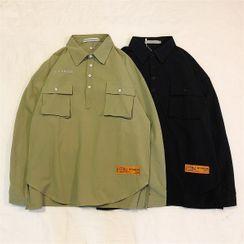 CooLook - Pocket Detail Half-Placket Shirt