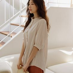 JUSTONE - Frill-Neck Puff-Sleeve Blouse