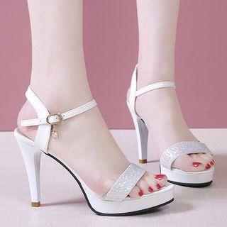 Weiya - Ankle Strap Glitter Platform High-Heel Sandals