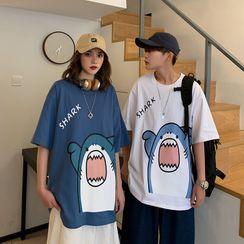Fesarius - Couple Matching Shark Print T-Shirt