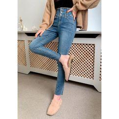 chuu - High-Rise Blue Skinny Jeans