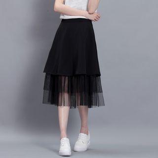 Sonne - Mesh-Panel A-Line Midi Skirt