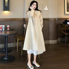ever after - Peter Pan-Collar Light Wool Coat with Sash