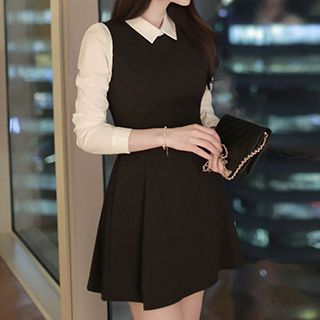 Fashion Street - 3/4-Sleeve Mock Two-Piece Collared Dress