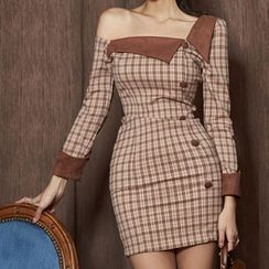 Kevina - One-Shoulder Long-Sleeve Plaid Mini Sheath Dress