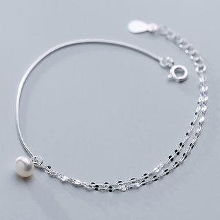 A'ROCH - 925 Sterling Silver Faux Pearl Bracelet / Anklet