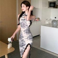 ADORNIER - Sleeveless Floral Print Lace Trim Qipao