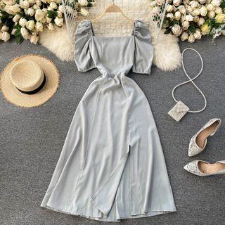 Lucuna - Puff Short-Sleeve Midi A-Line Dress