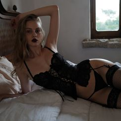 Ladies Night - Lingerie Set: Lace Camisole + Thongs + Stockings