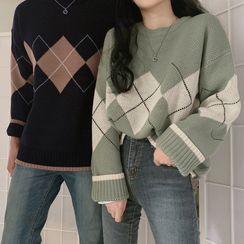 HW Studio - Couple Matching Argyle Sweater
