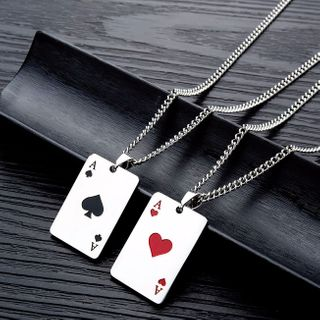 Tenri - Stainless Steel Poker Card Pendant Necklace