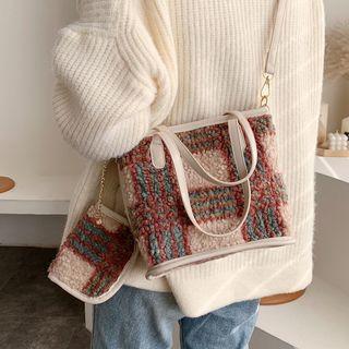 Emvee - Set: Plaid Fleece Tote Bag With Shoulder Strap + Pouch