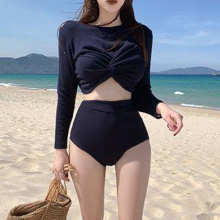 Nerthus - 套裝: 扭擰長袖游泳上衣 + 泳褲