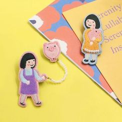 KIITOS - Embroidered Pig & Girl Applique Brooch