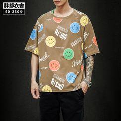 Granada - Elbow-Sleeve Smiley Face T-Shirt