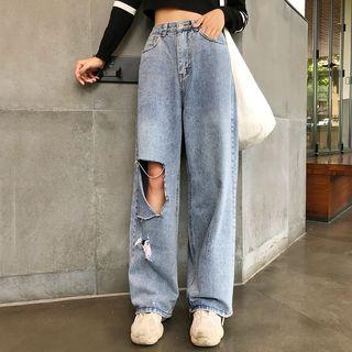 Tangan - 镂空宽腿牛仔裤