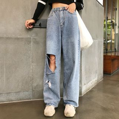 Tangan - 鏤空寬腿牛仔褲