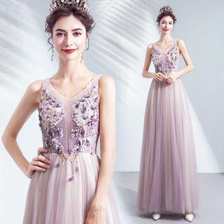 Angel Bridal - 无袖贴花网纱A字晚礼服