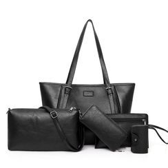 Selinda - Set: Faux Leather Tote Bag + Crossbody Bag + Pouch + Coin Pouch + Key Pouch