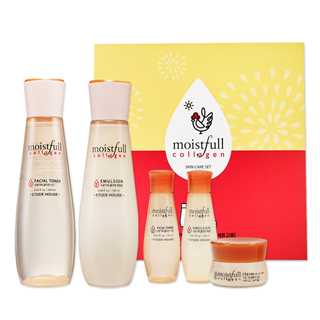 Etude House - Lucky Moistfull Collagen Skin Care Set: Skin 200ml + Emulsion 180ml + Skin 20ml + Emulsion 20ml + Cream 10ml