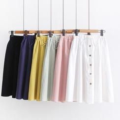 Vateddy - Drawcord Midi Skirt